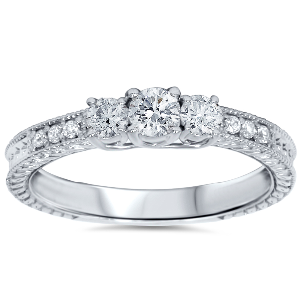 1/2ct Vintage Three Stone Round Diamond Engagement Ring 14K White Gold