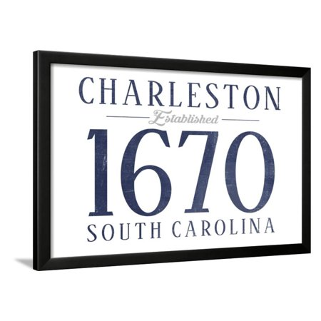 Charleston, South Carolina - Established Date (Blue) Framed Print Wall Art By Lantern Press