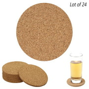 24 Set Cork Coasters Drink Absorbent Coffee Bar Table Cup Mat DIY Tile Craft Lot