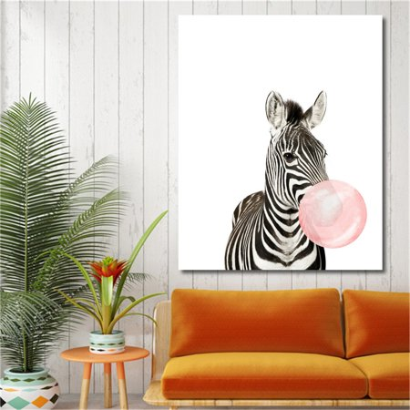 Moaere Funny Koala Bear Zebra Canvas Art Oil Printed Paintings Baby Room Decor Unframed