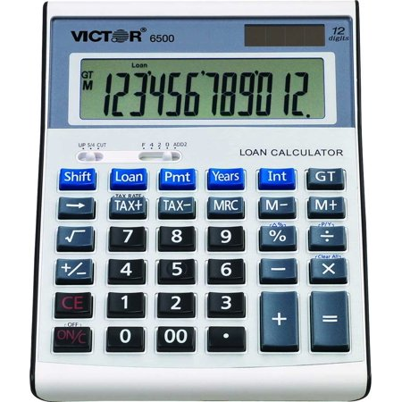 Victor 6500 12 Digit Executive Desktop Financial Calculator with Loan Wizard, Extra-large 21mm LCD angled display for easy viewing By Victor