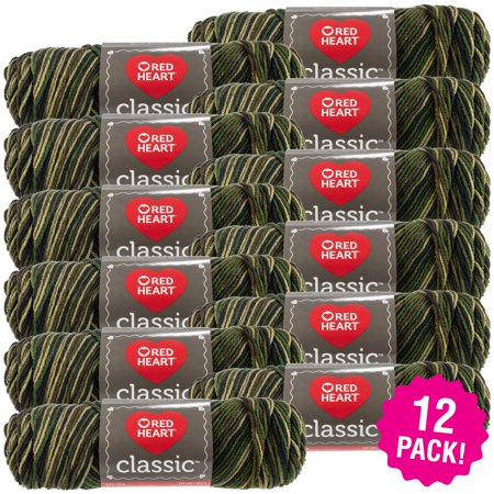 Red Heart Classic Yarn - Camouflage, Multipack of