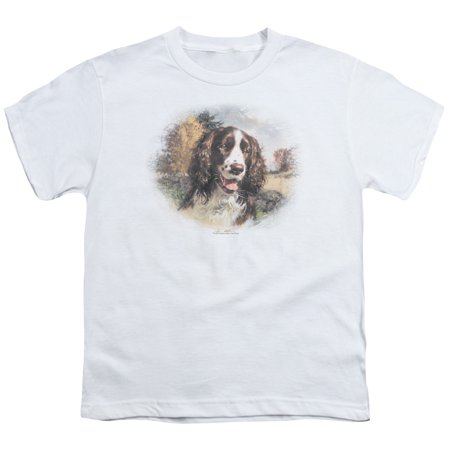 Wildlife/Springer Spaniel Head S/S Youth 18/1 White   Ww121