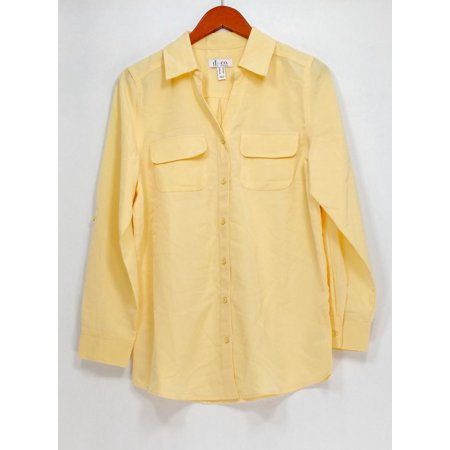 Denim & Co. Top Sz S Roll Tab Sleeve Button Front Soft Yellow A227885