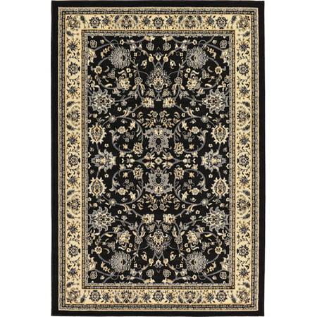 unique loom kashan black area rug. Black Bedroom Furniture Sets. Home Design Ideas