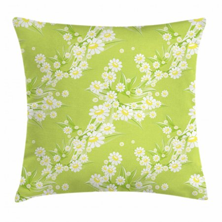 Daisy Throw Pillow Cushion Cover, Spring Chamomiles Leaf Flora Greenery Yard Budding Flower Grass Graphic Art, Decorative Square Accent Pillow Case, 16 X 16 Inches, Yellow Green White, by Ambesonne ()