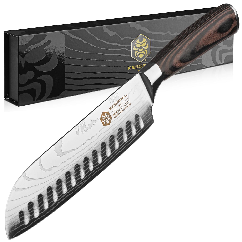 Kessaku Santoku Knife Samurai Series Japanese Etched High Carbon