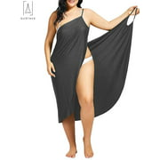"GustaveDesign Plus Size Womens Beach Spaghetti Strap Backless Bathing Suit Bikini Cover Up Short Wrap Dress ""Size 4XL, Dark Gray"""