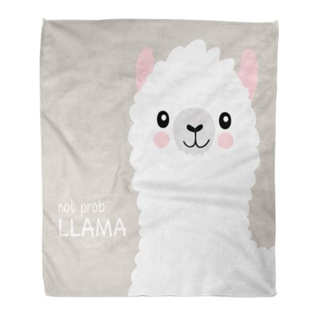 KDAGR Flannel Throw Blanket Llama No Probllama Lama Cute Funny for Children Kids Smile Magic Birthday 50x60 Inch Lightweight Cozy Plush Fluffy Warm Fuzzy Soft