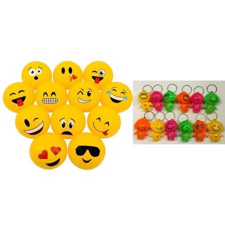 Lot of 12 Mini Emoticon Beach Balls and 3 Bright Emoji Emoticon Bobblehead Mini Flashlight Keychains Bundle by TM, 12 6