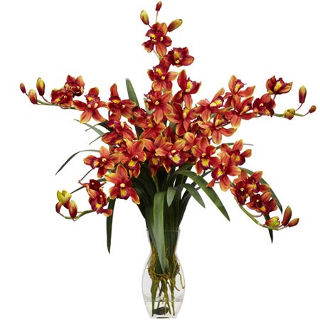 Cymbidium orchid silk flower arrangement burgundy walmart cymbidium orchid silk flower arrangement burgundy mightylinksfo