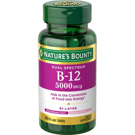 Natures Plus 30 Tablets (Nature's Bounty Dual Spectrum B-12 Dietary Supplement Bi-Layer Tablets, 5,000mcg, 30)