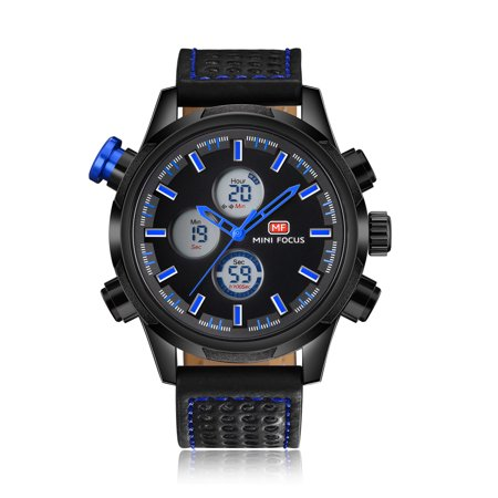Mens Quartz Watch Blue Hands Leather 3 Multifunction Dials Digital Sport for Friends Lovers Best Holiday Gift