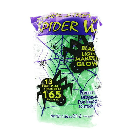 Super Stretch Spider Web Decoration, Green, Glows in Blacklight](Halloween Spider Webs For Sale)