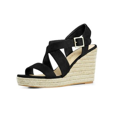 Women's Espadrilles Platform Slingback Wedges Sandals Black (Size 8.5)