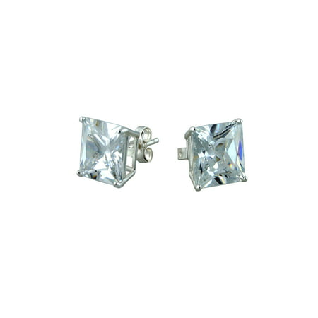 10mm Cz Sterling Silver Square Stud Earrings