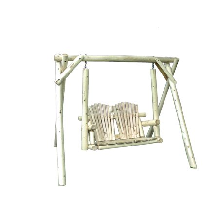 Adirondack Swing (Furniture Barn USA™ White Cedar Log Adirondack Swing with A-Frame )