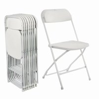 Clearance! 5pcs Portable Plastic Folding Chairs White