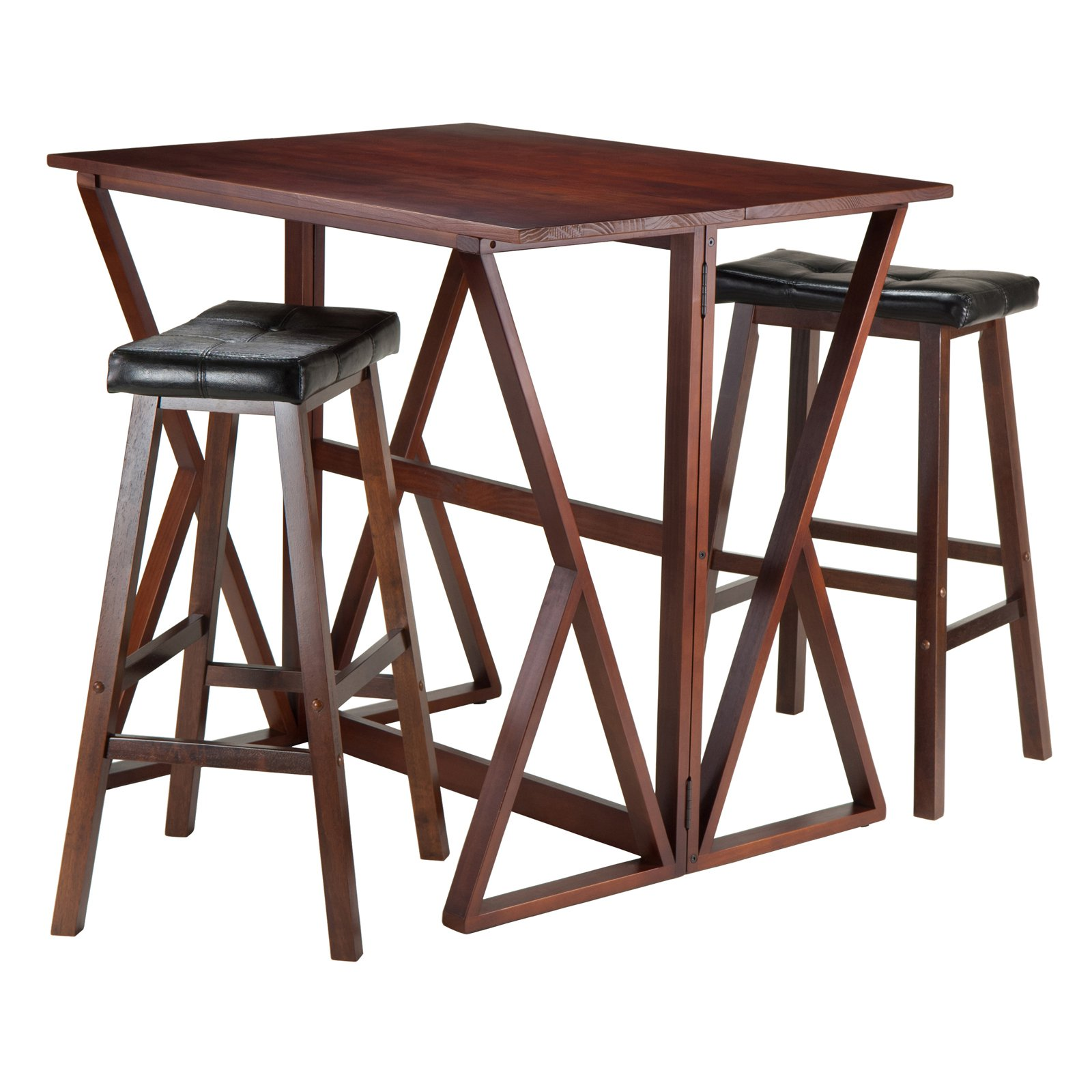 "Harrington 3-Pc Drop Leaf High Table, 2 -29"" Cushion Saddle Seat Stools"