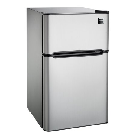Frost Fridge Freezer - RCA 3.2 Cu Ft Two Door Mini Fridge with Freezer RFR834, Stainless Steel