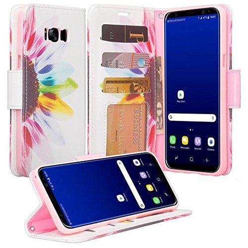 Samsung Galaxy S8 Case - Wydan Wallet Leather Credit Card Flip Book Style Folio Kicktand Feature Cover w/ Wrist Strap Colorful Sunflower