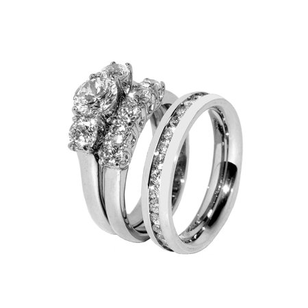 His Hers 3 PCS Stainless Steel 3 Stone Wedding Ring Set Mens CZ All Around Band- Size W5M7 (Mens Stone Set)