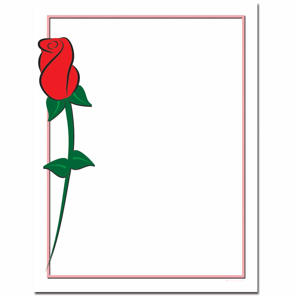 Single Red Rose Letterhead Printer Paper, 80 Sheets