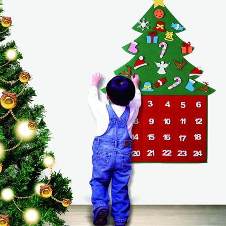 Felt Christmas Tree Advent Calendars DIY 24 Days Countdown Decorations Xmas Wall Door Hanging Gift ()