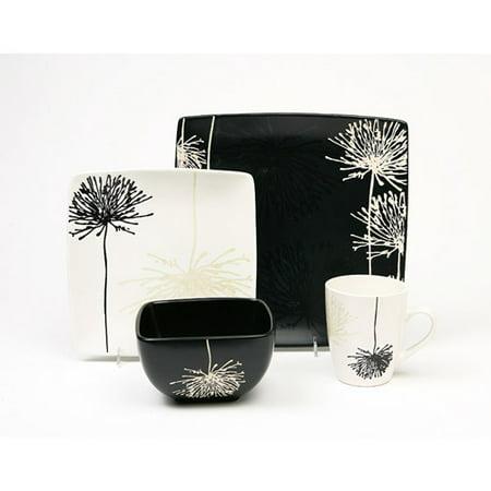 garden 16 piece dinnerware set black and white. Black Bedroom Furniture Sets. Home Design Ideas