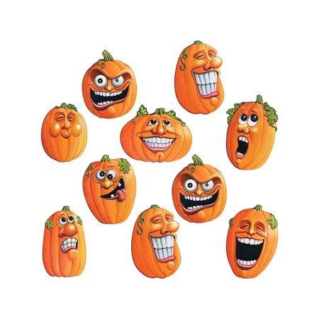 10 Piece Mini Wacky Jack-O-Lantern Halloween Cutouts Party - Halloween Cutouts Pinterest