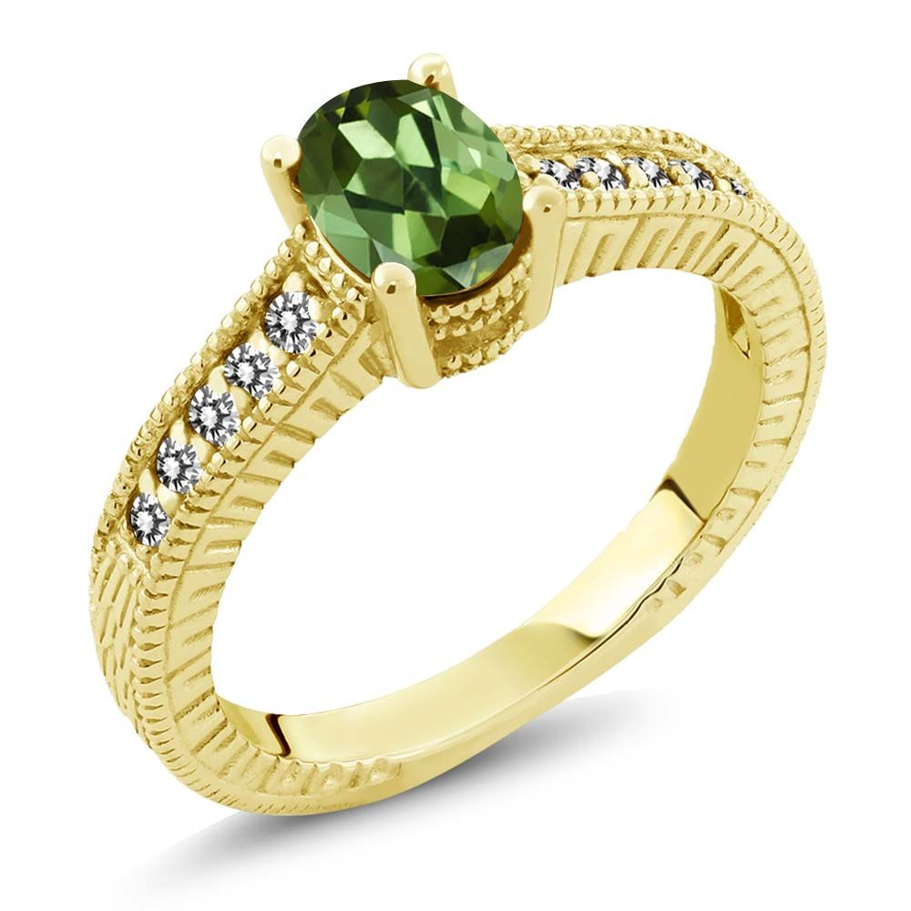 1.18 Ct Oval Green Tourmaline White Diamond 14K Yellow Gold Engagement Ring by