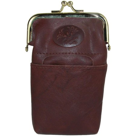 Size one size Women's Leather Framed Cigarette Case Wallet with Floral Emboss (Embossed Tri Fold Wallet)