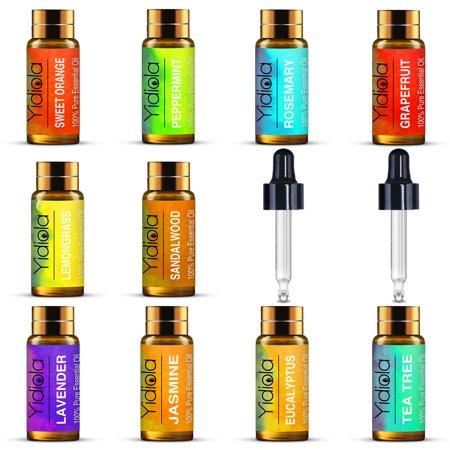 Top 10 Essential Oils Set, 100% Pure Lavender,Peppermint,Eucalyptus,Tea Tree,Rosemary,Lemongrass,Sweet Orange,Sandalwood,Jasmine,Grapefruit Oils, w/2 Glass - Jasmine Sweet
