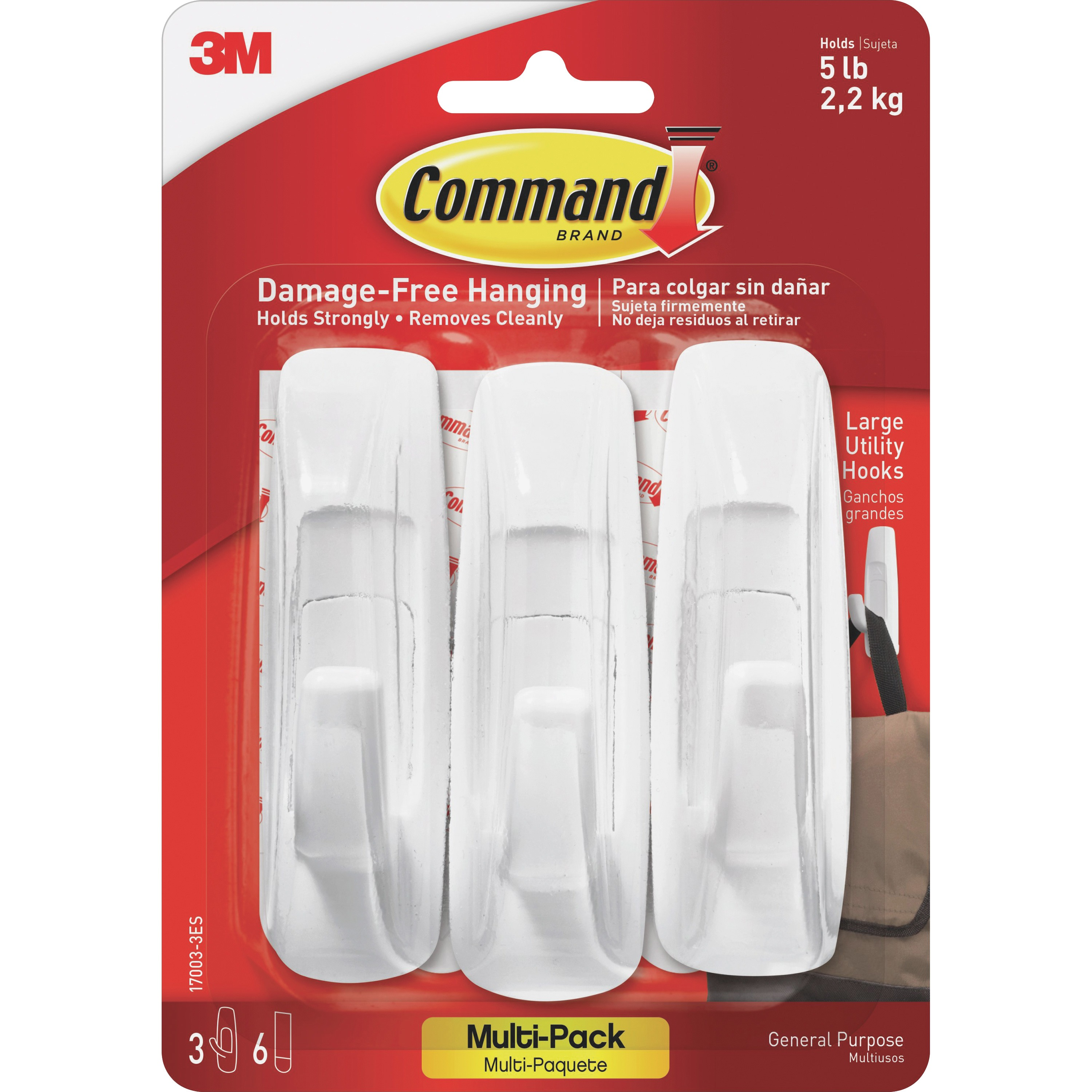 Command Utility Hook Value Pack, White, Large, 3 Hooks, 6 Strips/Pack
