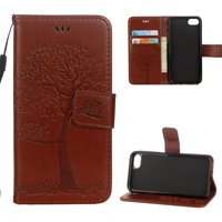 iPhone 6 Plus/ 6S Plus Wallet case, Allytech Pretty Retro Embossed Owl Tree Design PU Leather Book Style Wallet Flip Case Cover for Apple iPhone 6 Plus and iPhone 6S Plus, Brown