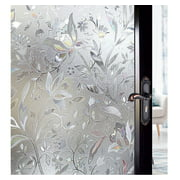 "3D Static Glass Films Window Privacy Film Decorative Flower Sticker Anti-Uv Peel And Stick for Glass Home Kitchen Office Door 17.5"" x 78.7"""