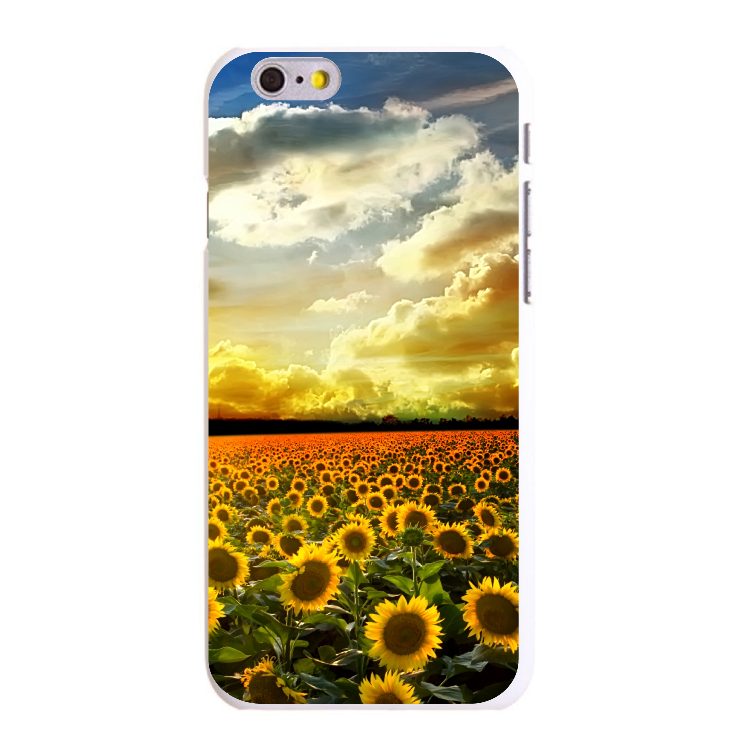 "CUSTOM White Hard Plastic Snap-On Case for Apple iPhone 6 / 6S (4.7"" Screen) - Green Blue Yellow Sunflowers"