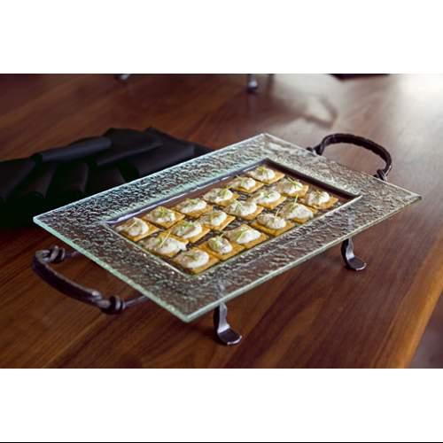 Rectangular Textured Glass Serving Platter and Iron Stand with Handles