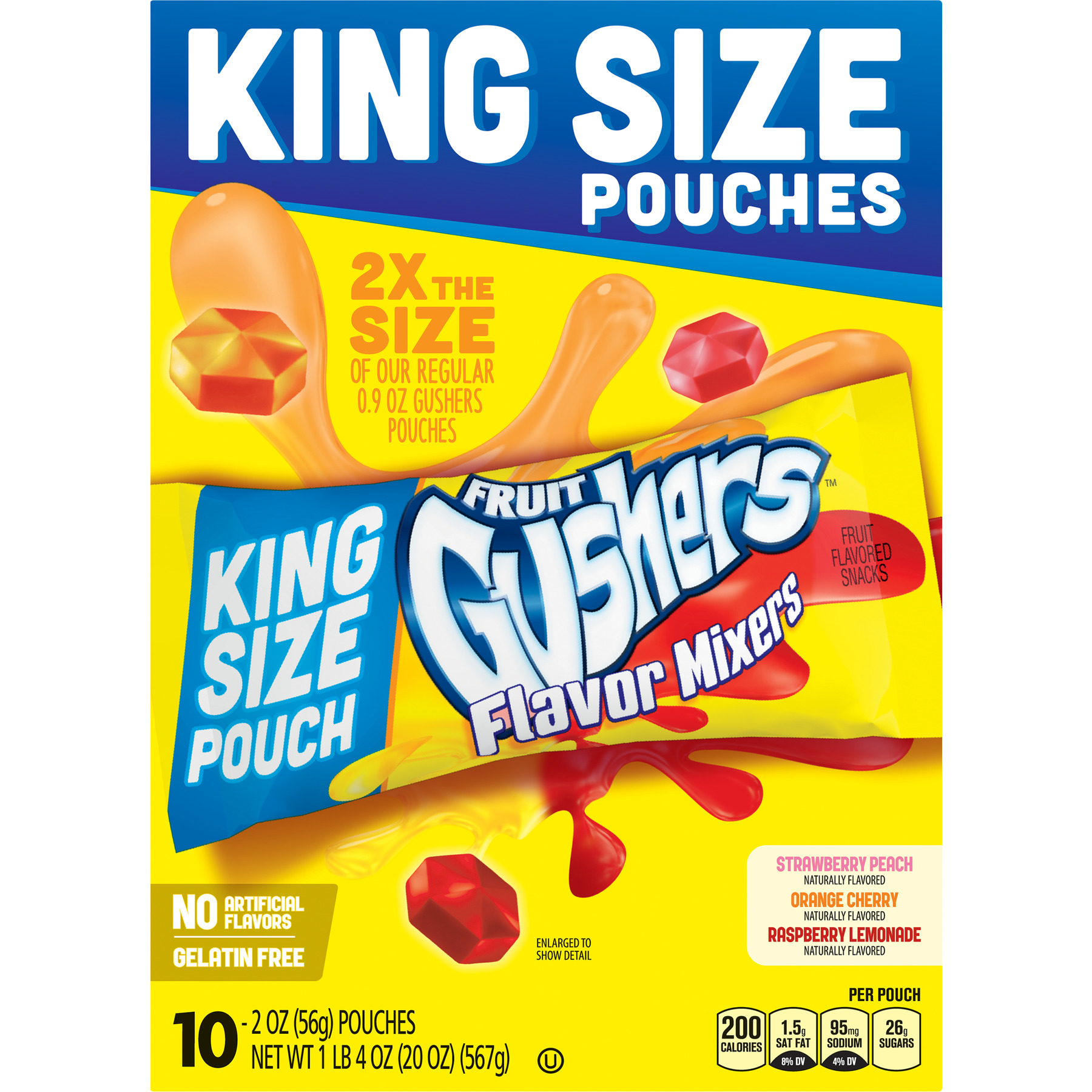 Betty Crocker Fruit Gushers Flavored Mixers Pouches, 2 Oz., 10 Count