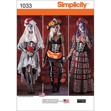 Simplicity Misses' Day Of The Dead Costumes, 6-8-10-12-14
