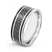 Stainless Steel Black Carbon Fiber Inlay Ring