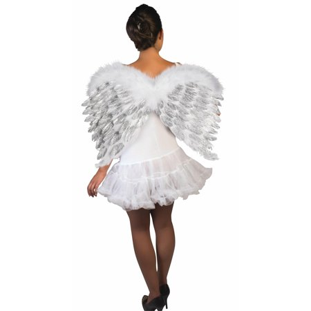 Glitter White Feather Angel Wings -
