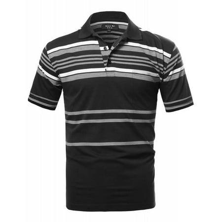 Hawks Bay Men's Stripe Polo Jersey Black Small Classic Stripe Jersey Polo