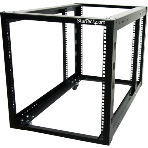 StarTech.com 12U 4 Post Server Equipment Open Frame Rack Cabinet with Adjustable Posts and Casters