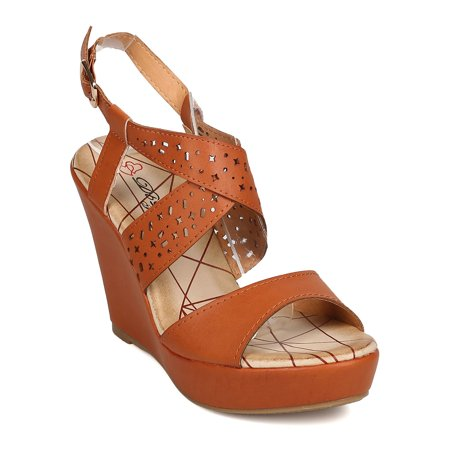 New Women DbDk Salitaly-5 Leatherette Open Toe Perforated Platform Wedge