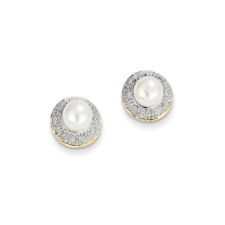 - 14k Yellow Gold 6mm Button Freshwater Cultured Pearl .05ct Diamond Post Stud Ball Earrings Fine Jewelry For Women Gift Set