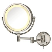 Jerdon HL75N 8.5-Inch Lighted Wall Mount Makeup Mirror with 8x Magnification, Nickel Finish