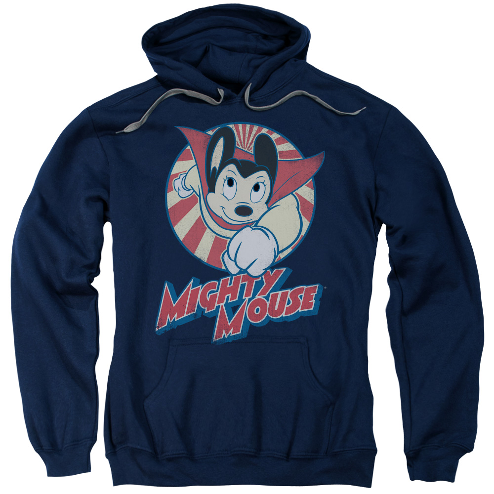 MIGHTY MOUSE/THE ONE THE ONLY-ADULT PULL-OVER HOODIE-NAVY-MD