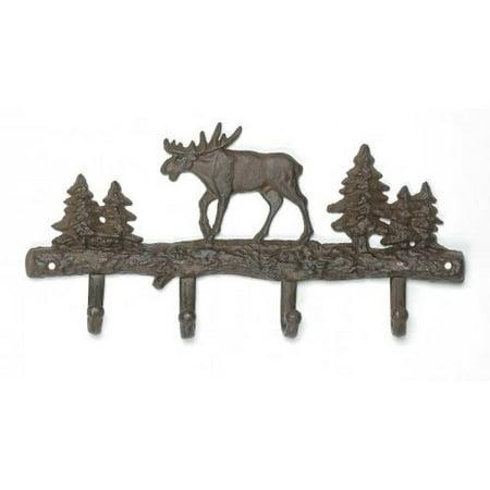 Cast Iron Moose Wall Key Rack Holder 4 Hooks Coat Hook Home Decor