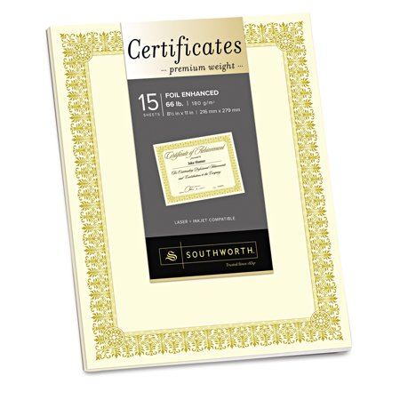 Southworth Premium Certificates, Ivory , Fleur Gold Foil Border, 66 lb, 8.5 x 11, 15/Pack (Southworth Award)